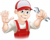 Happy Plumber Or Mechanic With Spanner