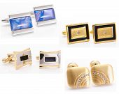 Collection Of Man Cuff Links Isolated
