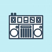 Blue Line Dj Remote For Playing And Mixing Music Icon Isolated On Blue Background. Dj Mixer Complete poster