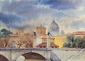 Basilica Sant Pietro And Ponte Vittorio Emanuele, Vatican, Rome, Italy.