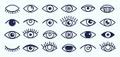 Eye Icons. Outline Eyelashes And Eyes Symbols. Ophtalmology Signs. Sight, Closed And Opened Organ Of poster