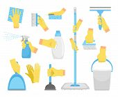 Cleanning Tools With Hands. House Holding Equipment In Rubber Glove Hand, Detergent Supply Products  poster