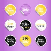 Round Best Offer Sale Stickers. Gold And White, Black And Lilac Sticker Set, Circle Badges For Best  poster