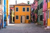 Amazing View Of Colorful Houses In Burano, Venice, Italy. Picturesque Summer Scenery View With Color poster