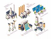 Energy Systems. Powerful Nature Factories Electric Solar Panels Turbine Windmills Vector Isometric G poster