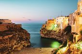 night city view of Polignano a Mare  Apulia Italy poster