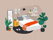 Scandinavian Or Nordic Style Bedroom Interior. Hand Drawing In Scandinavian, Style Cozy Interior Wit poster