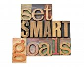 set SMART goals  - isolated text in vintage letterpress wood type