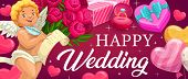 Wedding, Marriage Ceremony Vector With Cupid, Hearts, Diamond Ring And Red Flowers. Wedding Save The poster