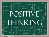 Positive Thinking Word Cloud Concept On A Blackboard