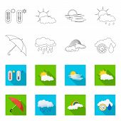 Isolated Object Of Weather And Climate Logo. Collection Of Weather And Cloud Vector Icon For Stock. poster