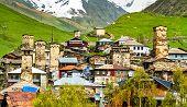 Ushguli With Traditional Svan Towers. Upper Svaneti, Unesco World Heritage In Georgia poster
