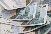 Background of Swedish currency closeup