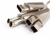 stock photo of exhaust pipes  - exhaust silencer automobile muffler - JPG