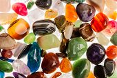 foto of tigers-eye  - Assortment of polished semi - JPG