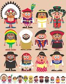 stock photo of mongolian  - Set of 12 characters dressed in different national costumes - JPG