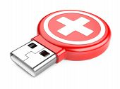 Usb Flash Drive And Medical Kit Sign