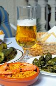 Spanish tapas and beer.