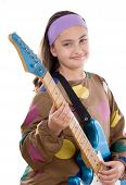 Girl Fashion Whit Electric Guitar