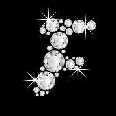 Luxury jewelry alphabet diamonds F