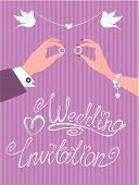 Wedding Invitation -  Groom And Bride Hands With Wedding Rings