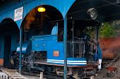 Driver Toy Train Parked Shed Angled Darjeeling