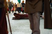 Tibet Buddhist Pilgrim Prostrating Barkhor Lhasa