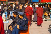 Policemen Security Watching Barkhor Lhasa Tibet