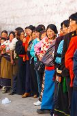Tibetans Queue Enter Jokhang Temple Lhasa
