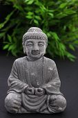 stock photo of gautama buddha  - Carved Asian stone meditating Buddha statue sitting in the lotus position with lush greenery and leaves behind - JPG