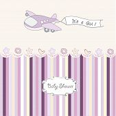 Baby Girl Announcement Card With Airplane