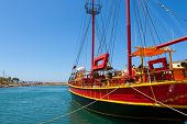 stock photo of sissy  - Sailing ship moored in old port of Sissi - JPG