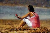 image of broken heart flower  - Pink Woman with Rose Sitting Alone on Beach Pastels - JPG