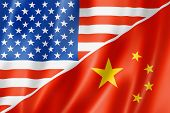 USA und China Flagge