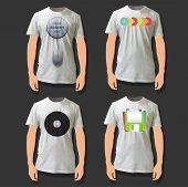Collection Of Shirts With Mouse, Cd And Diskette Printed. Vector Design.