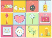 Collectie van pictogrammen op kleurrijke achtergronden.