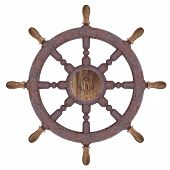 picture of nautical equipment  - Render of rusty nautical steering wheel isolated on white background - JPG