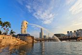 Golden light in the morning at Singapore Marina Bay Merlion park