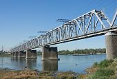 picture of novosibirsk  - the Trans Siberian railway bridge over the Ob river at Novosibirsk Siberia Russia - JPG