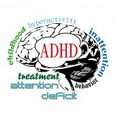 picture of trauma  - Abstract colorful background with an isolated brain on which is written the text ADHD a developmental disorder and other related words to the Attention Deficit Hyperactivity Disorder - JPG