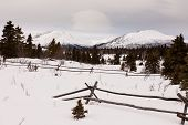 Scenic Yukon Canada winter mountains ranch fence