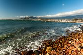 The Mountains And Harbour At Gordons Bay Near Cape Town..