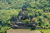 View Of Reichsburg Castle In Cochem In Germany From Pinnerkreuz