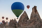 stock photo of goreme  - Hot air balloon ride in Cappadocia Turkey - JPG