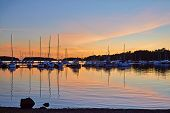 Yachting Port In  Over Sunset With Row Of Sailboats. Quiet Summer Evening. Finland, Rauma