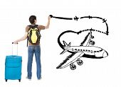 Young Traveler Drawing Airplane And Airline Path On The White Background