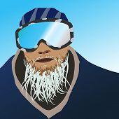 Frozen beard snowboarder