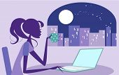 stock photo of moonlit  - Pretty woman surfing the internet - JPG