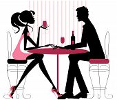 stock photo of flirt  - Silhouette in pinks and black  - JPG