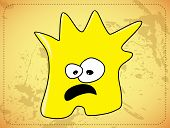 Scared  dishevelled yellow monster